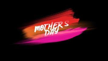 animação de texto do dia das mães sobre moda roxa e vermelha e fundo de pincel