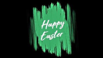 Animationstext glückliches Ostern auf grüner Mode und Pinselhintergrund