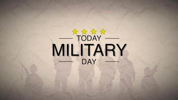 Animation text Military Day on warfare background with silhouette of soldiers video