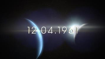 primer plano de animación 12.04.1961 texto con planetas de movimiento cinematográfico y estrellas en la galaxia video