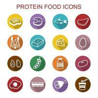 iconos de larga sombra de alimentos proteicos vector