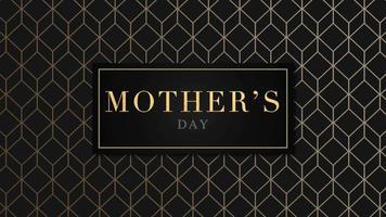 animação texto dia das mães sobre fundo preto moda e minimalismo com cubos de ouro video