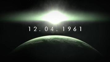 animação close up 12.04.1961 texto com movimento cinematográfico terra e estrelas no espaço