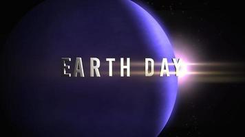 animação closeup texto do dia da terra com movimento planeta e luz de estrelas na galáxia video