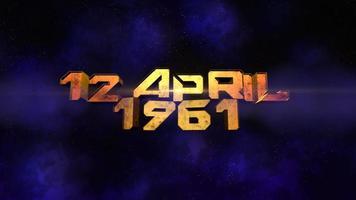 animação closeup texto 12 de abril de 1961 com fumaça e luz no espaço video