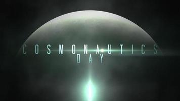 animación primer plano texto del día de la cosmonáutica con movimiento planeta y luz de estrella en galaxia video