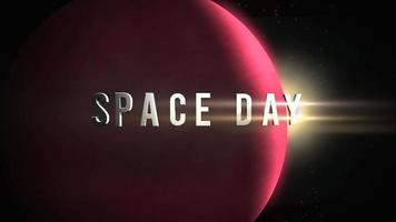 texto del día del espacio de primer plano de animación con planeta de movimiento cinematográfico y estrellas en el espacio video