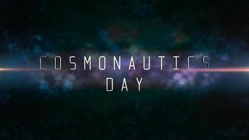 animação closeup cosmonáutica dia texto com luzes de néon de movimento na galáxia video