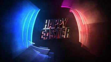 animação texto feliz páscoa e movimento linhas de néon coloridas, fundo abstrato