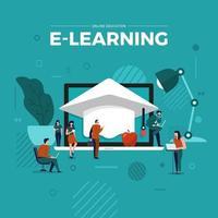 E-learning online education vector