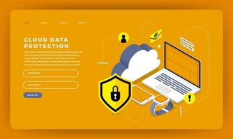 Website landing page mockup for cloud data protection vector
