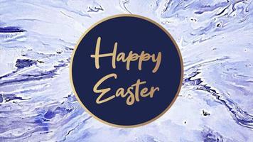 texto de animación feliz pascua en mármol azul y fondo de moda video