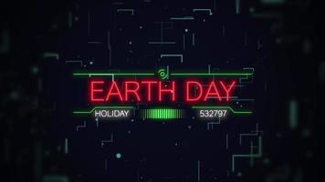 animação closeup texto do dia da terra na tela futurista de néon com linhas abstratas e placa-mãe de néon video