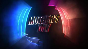 animação texto dia das mães e movimento linhas de néon coloridas, fundo abstrato