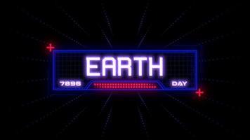 animação closeup texto do dia da terra na tela futurista de néon com linhas abstratas e começa na galáxia video