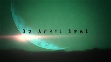 Primer plano de animación 12 de abril de 1961 texto con planeta y estrellas en la galaxia video