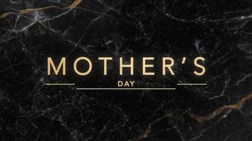 animação texto dia das mães sobre moda negra e fundo de mármore video