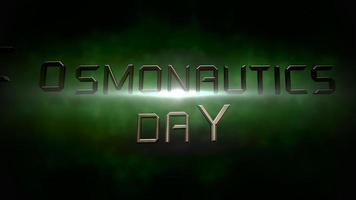 Animation Nahaufnahme Kosmonautik Tag Text mit Bewegung Neonlichter in der Galaxie video