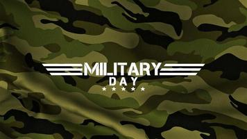 Animation text Military Day on green military background video