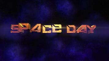 Animation Nahaufnahme Raum Tag Text mit Bewegung Neonlichter in der Galaxie video