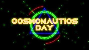 animação closeup cosmonautics day text com neon formas futuristas com estrelas na galáxia