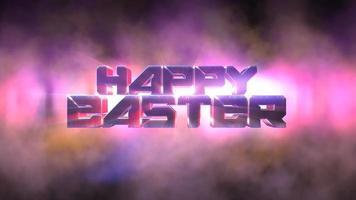 animação texto feliz páscoa e movimento luzes de néon coloridas, fundo abstrato