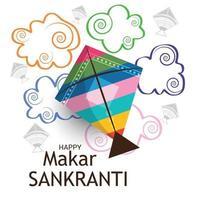Ilustración vectorial de un fondo para el festival tradicional indio makar sankranti con cometas de colores vector