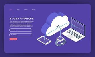Website landing page mockup for cloud storage vector