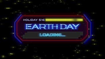 animação closeup texto do dia da terra na tela futurista de néon com linhas abstratas e começa na galáxia