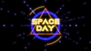 animación, primer plano, espacio, día, texto, en, neón, futurista, pantalla, con, extracto, formas, y, estrellas, en, galaxia video