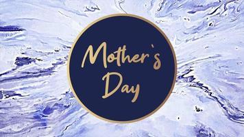 animação texto dia das mães sobre moda azul e fundo de mármore