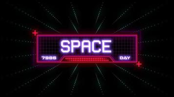 Animation closeup Space Day text on neon futuristic screen with abstract lines