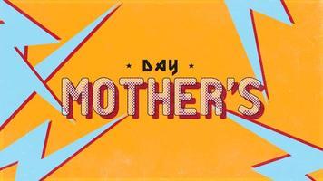 animação texto dia das mães em hipster preto e fundo grunge com raios vermelhos