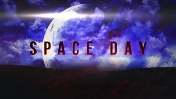 Animation closeup Space Day text with motion planet and magic clouds in space