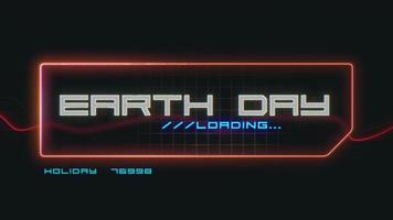 Animation closeup Earth Day text on neon futuristic screen with abstract lines