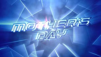 Animation text Mother's Day and motion blue neon lines, abstract background