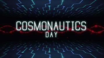 Animation closeup Cosmonautics Day text on futuristic screen with abstract lines and motherboard