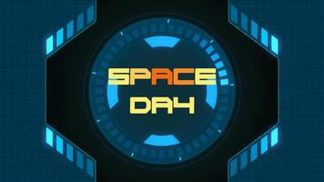 Animation closeup Space Day text on neon futuristic screen with abstract shapes
