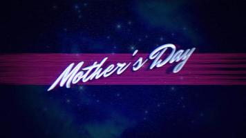 Animation text Mother's Day and retro abstract lines and stars in galaxy, holiday background