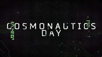 Animation closeup Cosmonautics Day text on futuristic screen with abstract shapes