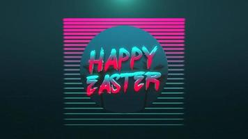 Animation text Happy Easter and retro tropic palms, background in 90 style