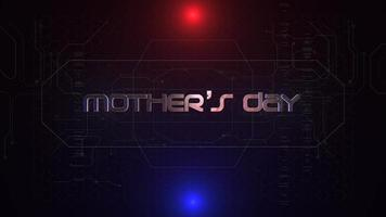 animação texto dia das mães e fundo de animação cyberpunk com matriz de computador, números e grade