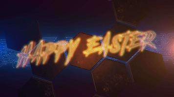Animation text Happy Easter and cyberpunk animation background with computer matrix, numbers and hexagons