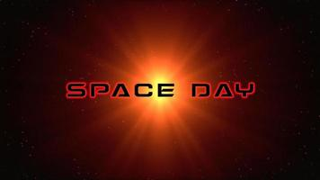 Animation closeup Space Day text with orange lines and lights
