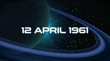 primer plano de animación 12 de abril de 1961 texto con estrellas y planeta en galaxia video