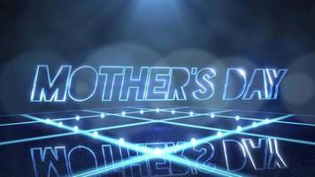 animação texto dia das mães e movimento luzes de néon azuis no palco, fundo abstrato