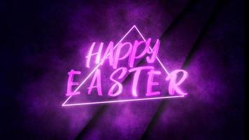 Animation text Happy Easter and motion purple neon triangle on wall, abstract background