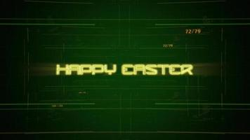 Animation text Happy Easter and cyberpunk animation background with computer matrix and numbers
