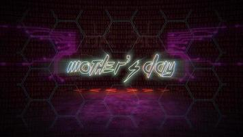 Animation text Mother's Day and cyberpunk animation background with computer matrix, numbers and grid