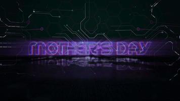 Animation text Mother's Day and cyberpunk animation background with computer chip and neon lights